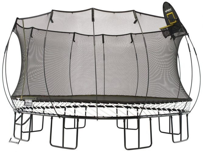 Springfree Trampoline- 13-Ft Jumbo Square with Basketball Hoop & Ladder